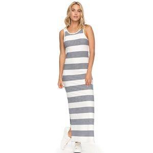 Roxy Grey & Pink Boho Stripe Summer Maxi Dress